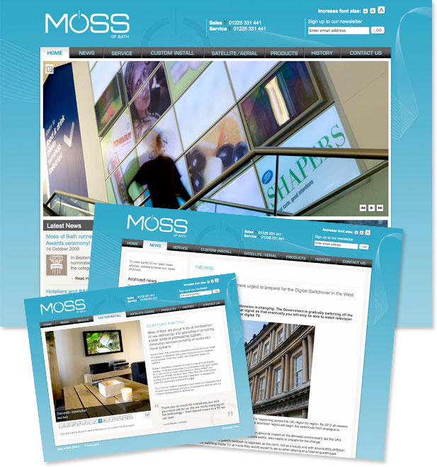 Moss of bath website pages