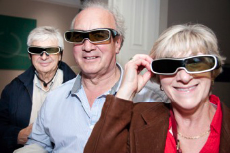 People wearing 3D glasses at Moss of Bath 3D TV Evening