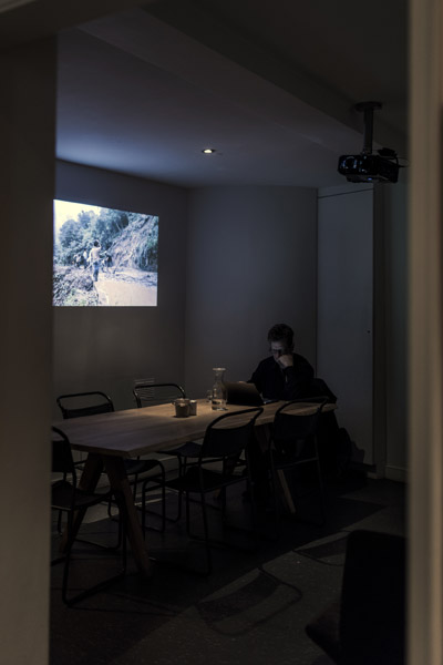 Basement projector room installation, Society Cafe, Kingsmead Square, Bath