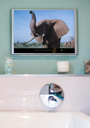 In wall bathroom television installation
