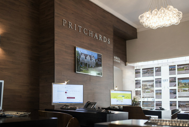 Wall mounted 47inch Panasonic TV installation, Pritchards Estate Agent, Bath