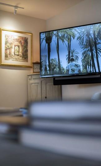 tv audio bracket installation private house bath